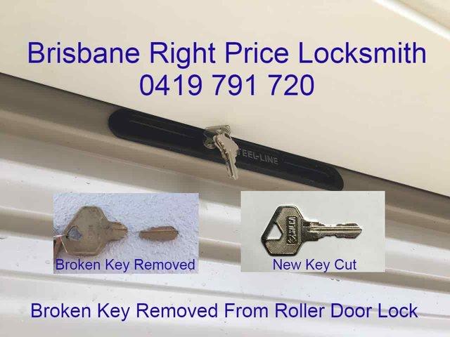 Locksmith Brisbane Broken Key Removed From Roller Door Lock